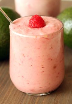 Raspberry Banana Avocado Smoothie |       1 cup frozen raspberries (about 130 grams)      1/2 - 1 avocado (mine was a Hass but you can use any type; mine weighed 130 grams)      1 frozen banana, optional*       1 cup (250 grams) plain yogurt      honey / Stevia / sugar / whatever sweetener you like      milk, optional