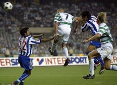 King Henrik: Larsson scores Celtic's second during the 3-2 defeat by Porto in the 2003 UEFA Cup final in Seville