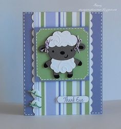 "Create a Critter Cricut cartridge lamb at 2.5"". I used some Trendy Twine for her little bows and for the little knots in the buttons and my sentiment came from the Lots of Pun Joy's Life Stamp Set."