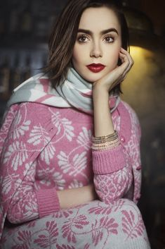 Lily Collins Poses for Karl Lagerfeld in Barrie Knitwear Campaign, May 2014