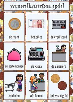 Rekenen met geld | Klas van juf Linda Euro, Body Parts Preschool, Learn Dutch, Vocabulary, Activities For Kids, Letters, Learning, Restaurant, Fruit