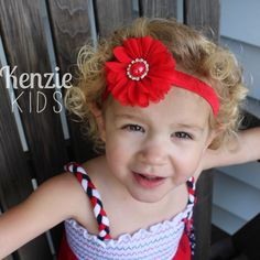 Red, White and Blue Headband with Bling for Independence Day by Kenzie Kids Boutique- toddler model, curly hair
