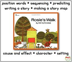 Buy Rosie's Walk by Pat Hutchins at Mighty Ape NZ. Rosie's walk around the farmyard, pursued by the hungry but clumsy fox, has become a beacon in the world of children's picture books, an ever-popular . Kindergarten Math, Teaching Math, Teaching Ideas, Teaching Reading, Rosies Walk, Positional Language, First Grade Parade, Read To Self, Visual Literacy