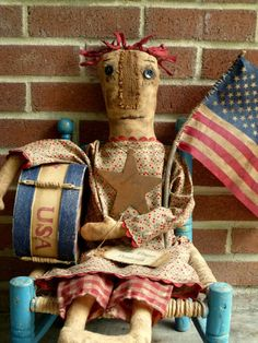 TAKING ORDERS only 1 available Primitive Americana Annie Doll w/ Drum and Flag #NaivePrimitive