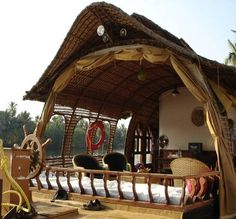 Kerala houseboat-India || It might be a houseboat here, but it could certainly be translated into a summer guest house! Description from pinterest.com. I searched for this on bing.com/images