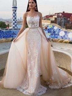 Outlet Sleeveless Champagne Wedding Dresses Dazzling Long Sheath/Column Applique Zipper Dresses
