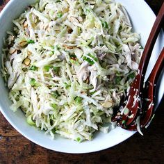 Chicken and Cabbage Salad with Sesame Seeds, Scallions & Almonds recipe on Food52