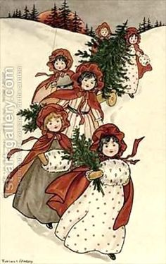 Little girls with holly and the Christmas tree, by Florence Hardy