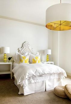 Suzie: Pieces Inc - Chic, modern yellow and white bedroom design with large white pendant light ...