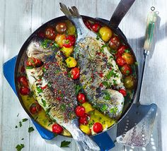 Sea bream in crazy water (Orata all'acqua pazza) recipe Fish Dishes, Seafood Dishes, Fish And Seafood, Seafood Recipes, Bbc Good Food Recipes, Great Recipes, Cooking Recipes, Healthy Recipes, Recipes Dinner