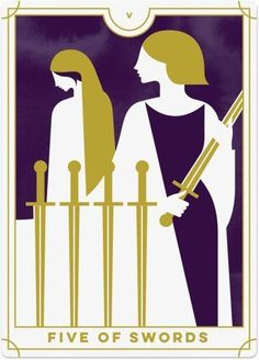 Detailed Tarot card meaning for the Five of Swords including upright and reversed card meanings. Access the Biddy Tarot Card Meanings database - an extensive Tarot resource. Five Of Swords, Le Tarot, Tarot Astrology, Online Tarot, Daily Tarot, Tarot Card Meanings, Tarot Card Decks, Tarot Spreads, Tarot Readers