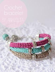 Crochet bracelet by Anabelia - pretty!Crochet bracelet by Anabelia, ? (Including the Belkin WeMo Switch) Crochet patternVarious nice crochet jewellery ideasCrochet bracelet Maybe make this by crocheting over plastic tubing? Bracelet Crochet, Bead Crochet, Diy Crochet, Crochet Crafts, Textile Jewelry, Beaded Jewelry, Handmade Jewelry, Beaded Bracelets, Wrap Bracelets