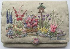 """In an English Country Garden"" needle case. Hand Embroidered - beautiful!"