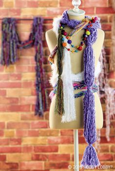 Make these beautiful yarn scarves in no time flat! Just grab your favorite yarn and a few essentials, and get to knotting, tying or just plain old-fashioned braiding. That's right - these scarves require absolutely no knitting.