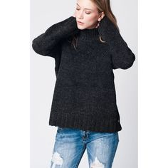 Dark grey wool mix sweater with roll ribbed neck and sleeves