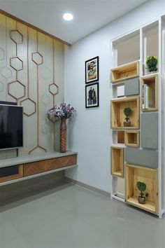 Living Tv, Living Room Wall Units, Living Room Tv Unit Designs, Bedroom Tv Unit Design, Living Room Partition Design, Room Partition Designs, Partition Walls, Indian Bedroom Design, Tv Unit Interior Design