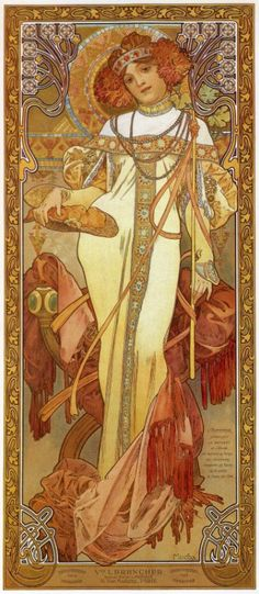 classicwood:  Alphonse Mucha: The Seasons: Autumn (1900)