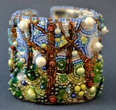 RESERVED FOR ANN Spring Bead Embroidery Cuff bracelet- bead embroidered bracelet. $225.00, via Etsy.
