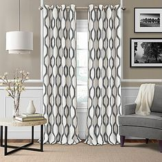 The Renzo Room-Darkening Window Curtain by Elrene adds a chic touch to your window, while blocking harsh light for added comfort. Its bold ikat print and soft, linen-blend fabric accent a room with a designer look and feel that is sure to be admired.