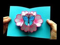 Basteln mit Papier: Pop Up Karten Blumen & Schmetterling selber machen DIY Mutte...  #basteln #blumen #karten #machen #papier #schmetterling #selber
