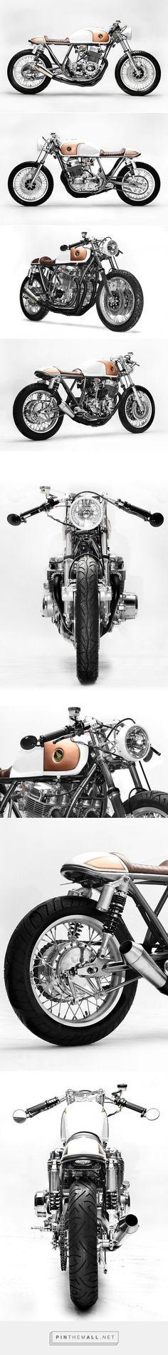 "PRECIOUS MENTAL. The ""Goldenrod"" Honda CB750 from Steel Bent Customs - Pipeburn.com - created via https://pinthemall.net"