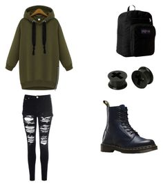 """""""Outfit #3"""" by theratchetdragon on Polyvore featuring JanSport, Glamorous and Dr. Martens"""