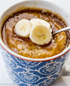 Banana Mug Cake. Oh this looks good! Don't use too small of a cup. It expands.