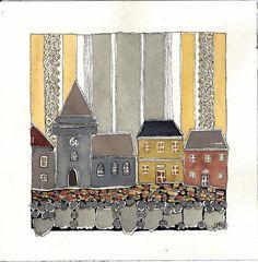 Original Art East Coast Village Street  door BlueMagpieDesign