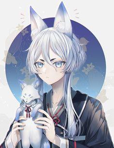 Anime Fox Boy, Anime Art Girl, Manga Girl, Anime Guys, Cute Characters, Anime Characters, Chibi, Kawaii, Fantasy Paintings