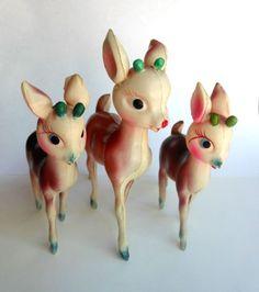 Vintage Christmas 3 Reindeer Japan Plastic/Celluloid Figurine Fawn Doe Girl Deer
