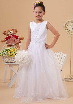 2015 Tulle Appliques Ruched Floor Length Zipper White Straps Sleeveless Ball Gown Flower Girl Dresses FGD
