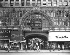 The Broadway Arcade Building entrance in downtown Los Angeles, 1954. The building still stands, recently converted to apartments. (Source: photos.lapl.org)