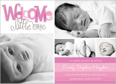 Welcome Little One Girl Birth Announcement