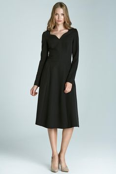 Black Dovey Neckline A-line Chic Dress