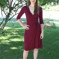Free wrap dress pattern by BurdaStyle. Maybe with some of the fabric I left at your house...