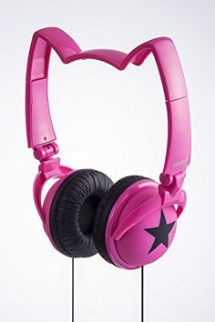 Cool and cute Cat Ear Headphones in pink. Girls will totally love it! also makes one of the best Christmas gifts for crazy cat lady.