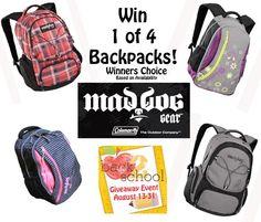 Hottest TrendSetter: #Back2School Giveaway! MadDog Gear Backpacks!!  4 Winners!