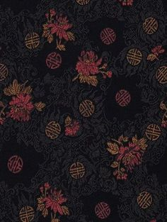 Satin Brocade Book Cloth- Red & Copper Longevity Design on Black 17x26 Inch Sheet  To find out more go here:  http://www.amazon.com/gp/product/B002KHI9M2/ref=as_li_ss_tl?ie=UTF8=1789=390957=B002KHI9M2=as2=httpwwwpossen-20