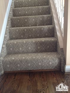 Pattern carpet wrapped stairs with a sanding & refinish on existing hardwood. #HomeFurnitureIN