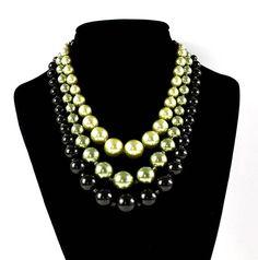 Vintage Multi Strand Bead Necklace  Vintage Japan Necklace  black Necklace  green Necklace  Gift for her  Mom Gift  Fashionista gift #vintage #vintagejewelry #vintagenecklace