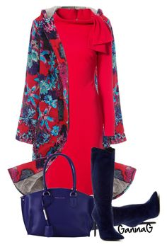 """""""Floral coat"""" by ganing ❤ liked on Polyvore featuring WithChic, Badgley Mischka, Jeffrey Campbell and Tuscany Leather"""