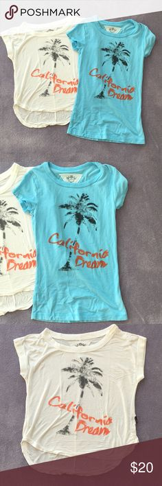 T2 Love California Dream tee bundle! T2 Love California dream tee shirts. Blue classic style tee shirt and white cropped with shorter sleeves. Lightly worn girls size 8. T2 Love Shirts & Tops Tees - Short Sleeve