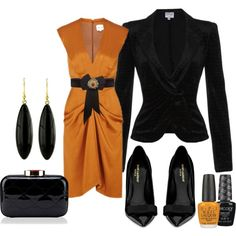 """Black & orange"" by dfanny on Polyvore"