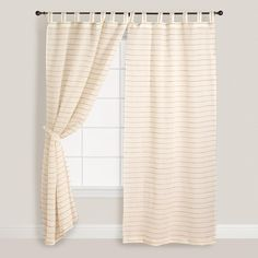 Cost Plus World Market Ivory Striped Sahaj Jute Curtains ($40) ❤ liked on Polyvore featuring home, home decor, window treatments, curtains, natural, beige striped curtains, cream curtains, woven curtains, ivory curtains and striped curtains