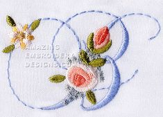 Amazing Embroidery Designs  Letter B with roses