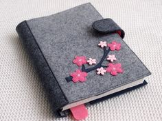 Refillable Felt Journal Cover, Fabric Planner Cover, Reusable Diary Cover Decorated with Sakura Branch, Gift for Her