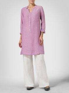 Linen Purple Slip-on Long Top