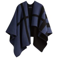 Burberry Check Wool and Cashmere Blanket Poncho (5,865 ILS) ❤ liked on Polyvore featuring outerwear, jackets, coats, poncho, burberry, black poncho and burberry poncho