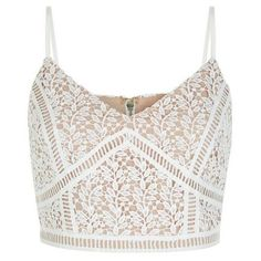 New Look White Lace Crop Top ($25) ❤ liked on Polyvore featuring tops, shirts, crop tops, blusas, white crop shirt, white lace top, v neck shirts, crop top and lace top