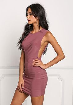Dusty Pink Jersey Knit Basic Dress - New Burgundy Bridesmaid Dresses, Hoco Dresses, Tight Dresses, Sexy Dresses, Evening Dresses, Fashion Dresses, Sophia Miacova, One Step, Formal Dresses For Teens